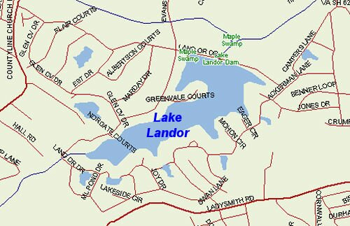 Map of the Lake Landor in Caroline County, Virginia