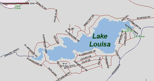 Map of the Lake Louisa in Louisa County, Virginia