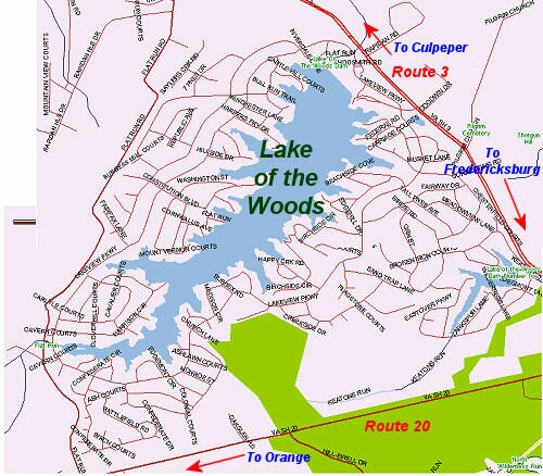 Map of the Lake of the Woods in Spotsylvania County, Virginia