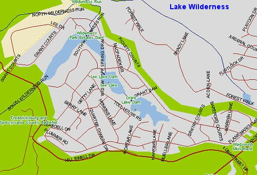 Map of the Lake Wilderness in Spotsylvania County, Virginia
