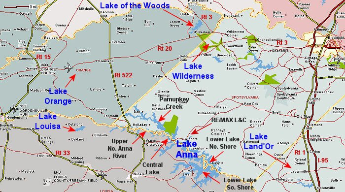 Overall Map of Areas of Lake Anna, Virginia